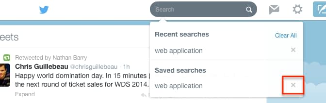 Delete Saved Search on Twitter