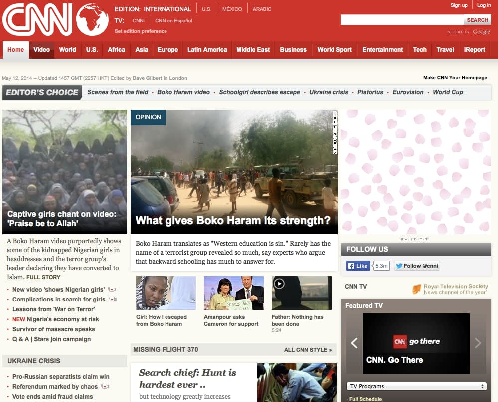 CNN Website Design