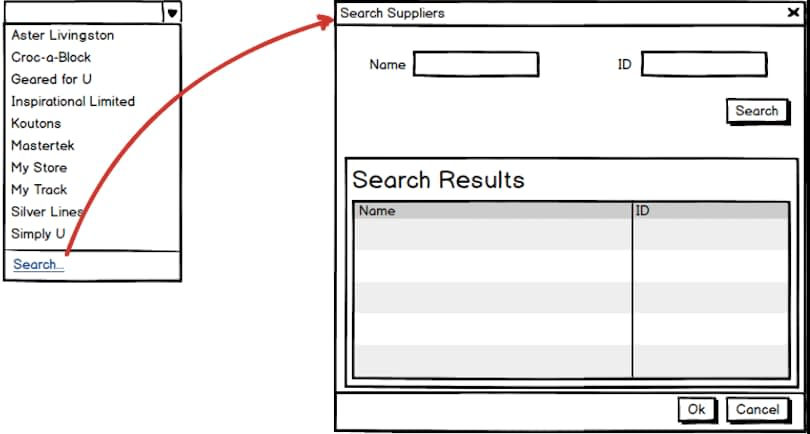 Drop-down with Search Link