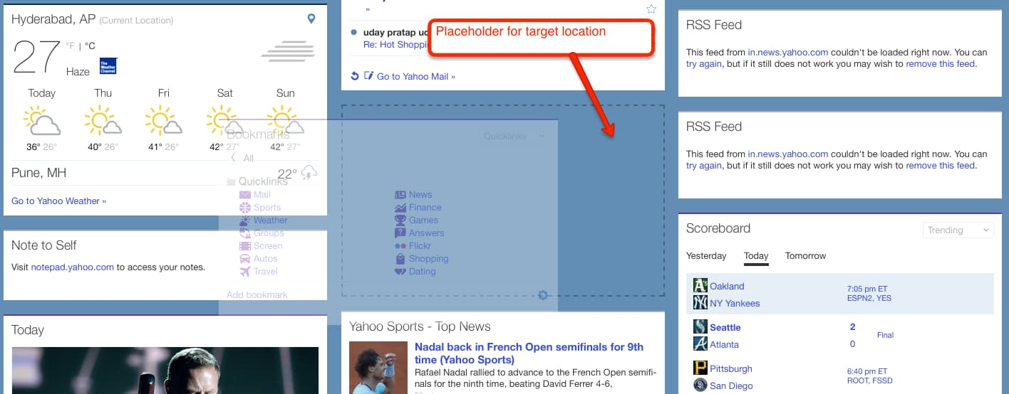 My Yahoo Placeholder Target Location